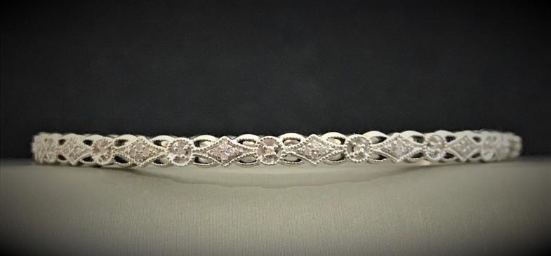 Sterling Silver and Diamond Bangle Bracelet