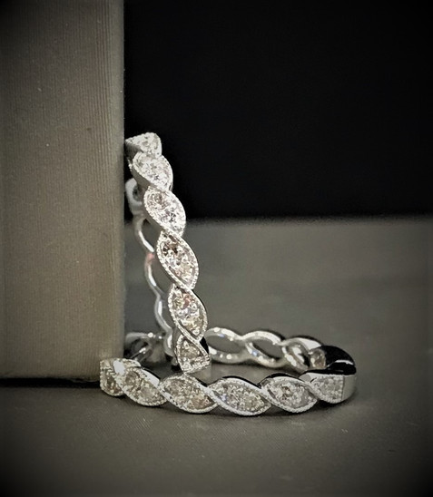White Gold and Diamond Hoop Earrings