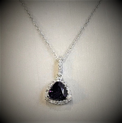 White Gold and Diamond Amethyst Necklace