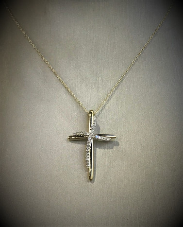 Yellow Gold and Diamond Cross Necklace
