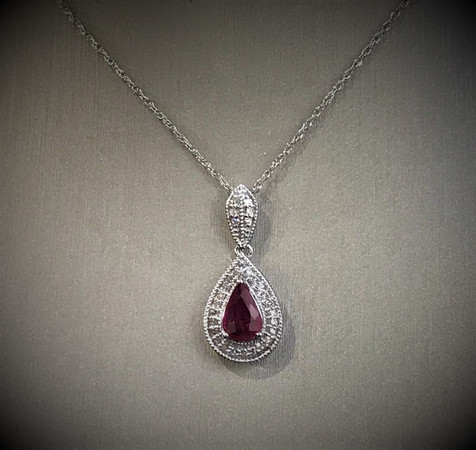 Pear Shape Ruby & Diamond Pendant