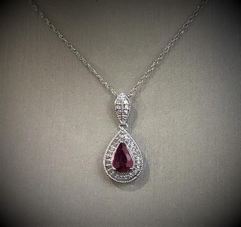 Pear Shape Ruby & Diamond Pendant