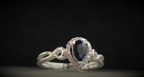 White Gold and Diamond Blue Sapphire Ring
