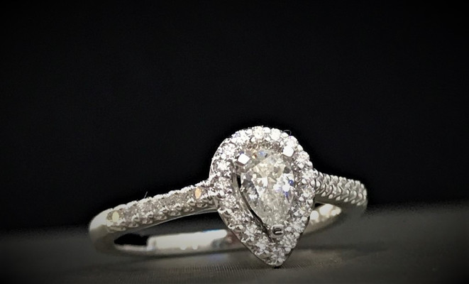 White Gold and Pear Shape Diamond Engagement Ring