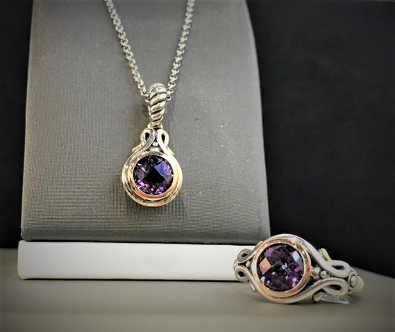 Sterling Silver and Amethyst Ring and Necklace