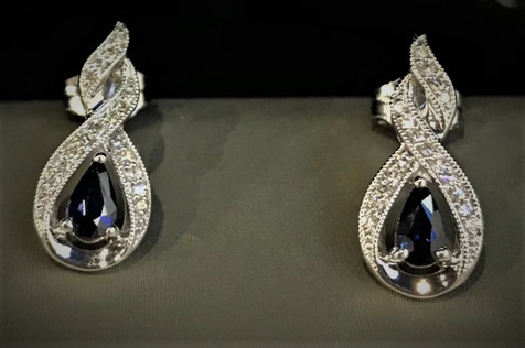 White Gold Diamond Earrings with Blue Sapphire