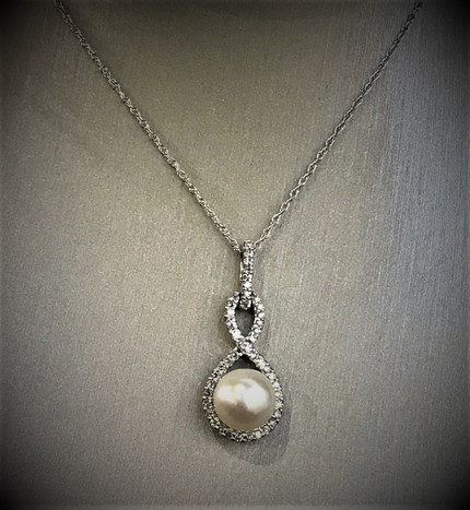 White Gold Pearl and Diamond Necklace