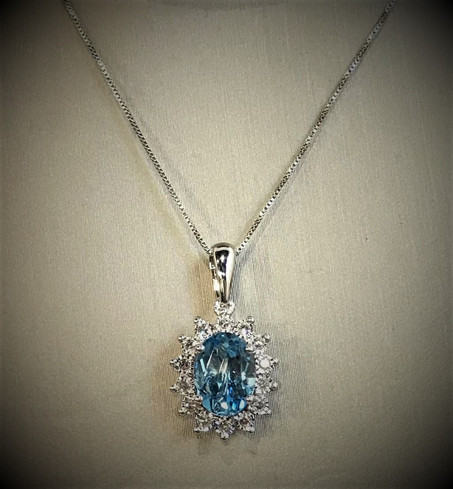 White Gold and Diamond Blue Topaz Necklace