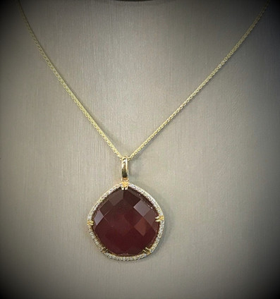 Yellow Gold Diamond and Red Agate Necklace