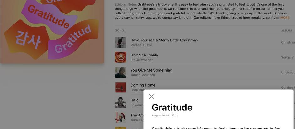 Gratitude Playlist from Apple Music