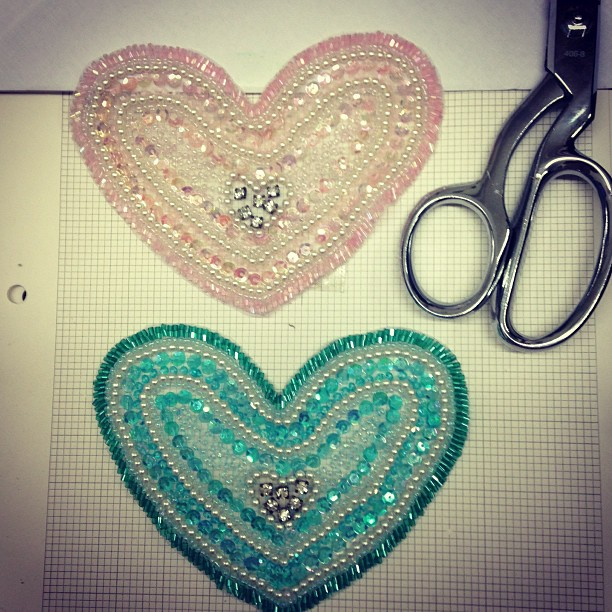 Who doesn't like #hearts__ I #love these #beaded #embellishment that i've completed today!! wheew! T