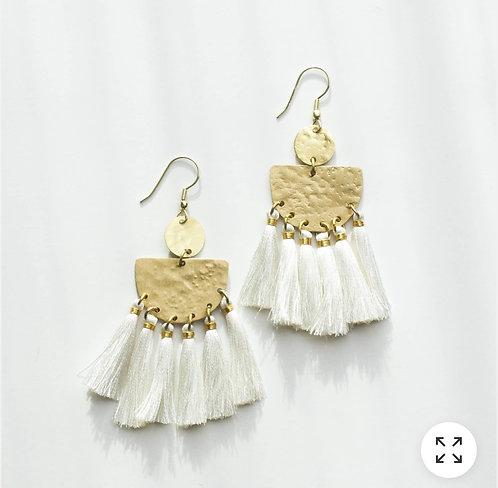 Tasseling White Earrings