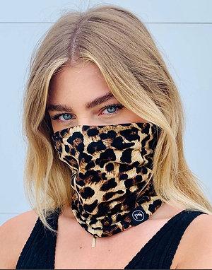 Leopard print convertible mask beanie