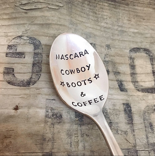 MASCARA, COWBOY boots, and COFFEE - coffee spoon - Upcycled Vintage Silverware S
