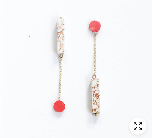 Reverse Clayworks Earrings - Coral