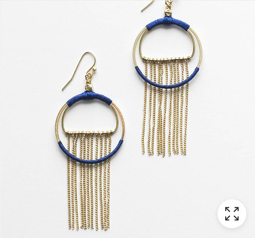 Silk Wrapped Fringe Earrings in Azure