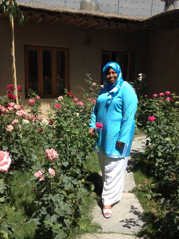 Karla in a rose garden
