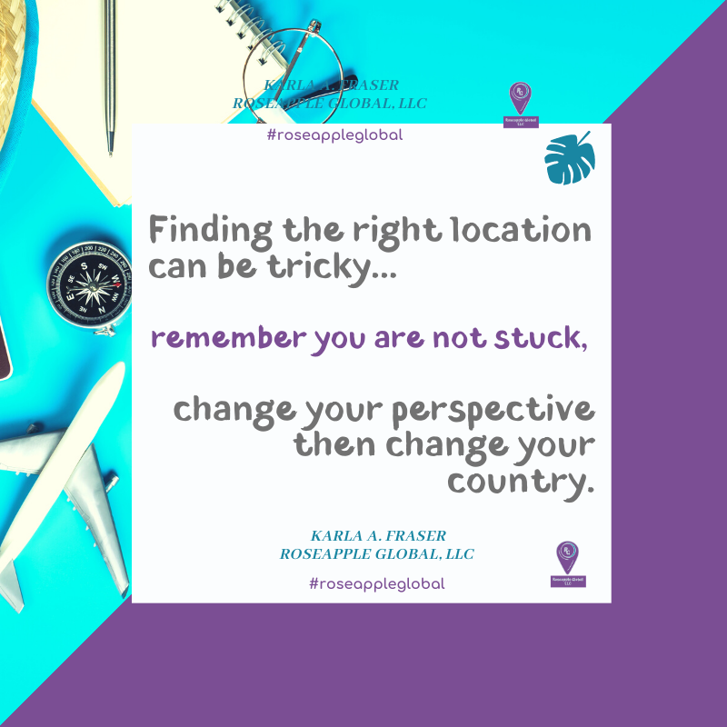 Quote about finding a location that fits you from Roseapple Global