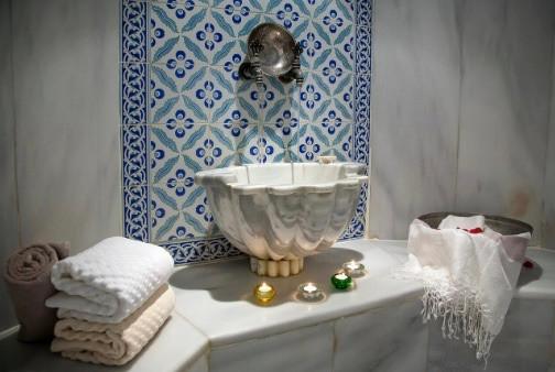 Sink inside a Hammam Bath w/ Towels plus accessories
