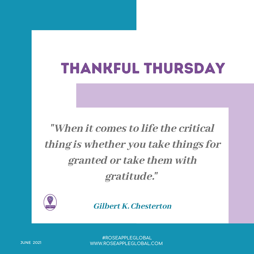 Thankful Quote about granted versus gratitude