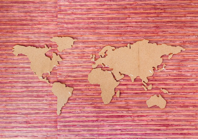 Map of the world on a red background