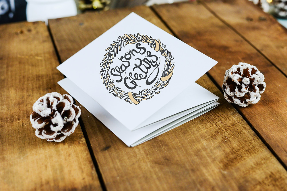 Greeting Card w/ White Painted Pine Cones