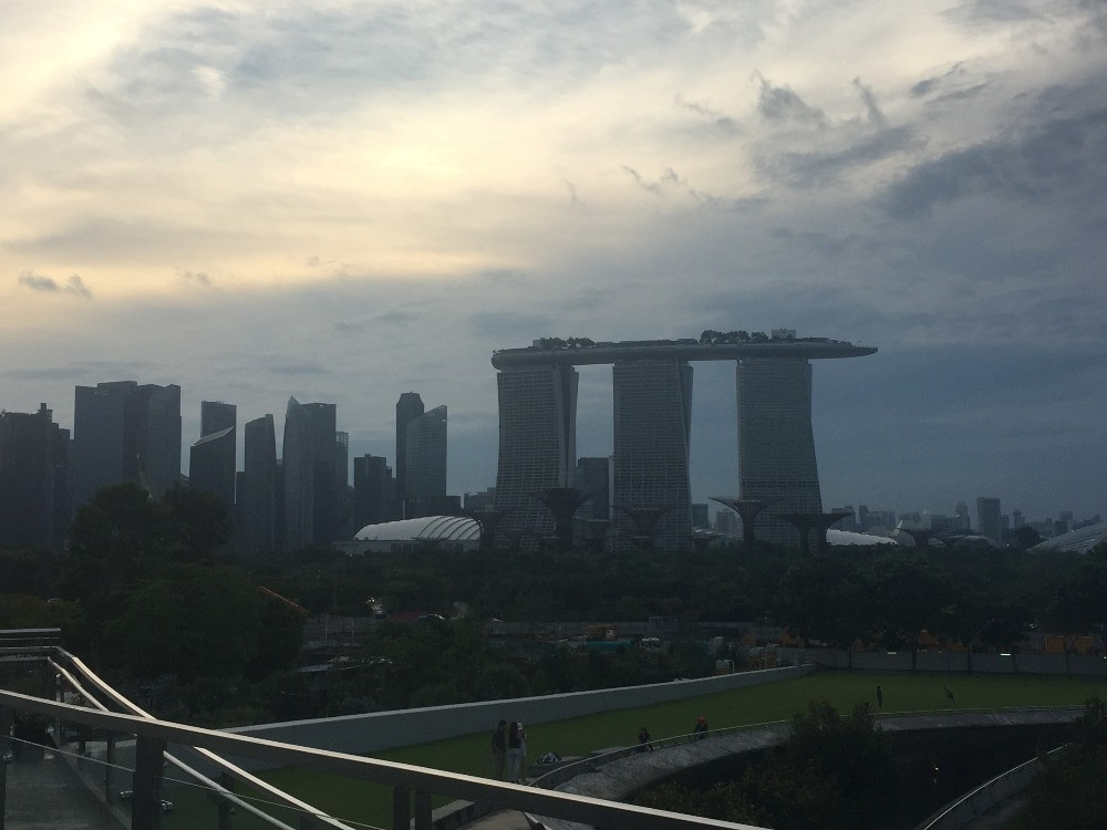 A view of Marina Bay Sands as dusk