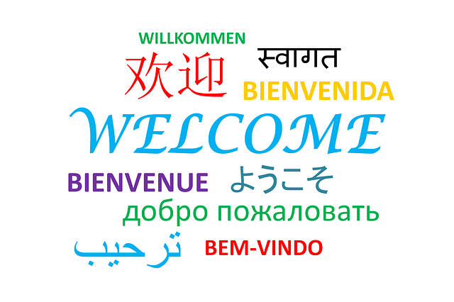 "Sign with ""Welcome"" in Several Languages"