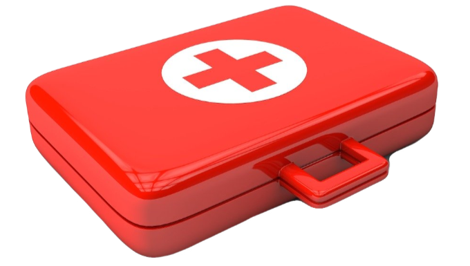 Red First Aid Box with First Aid Logo