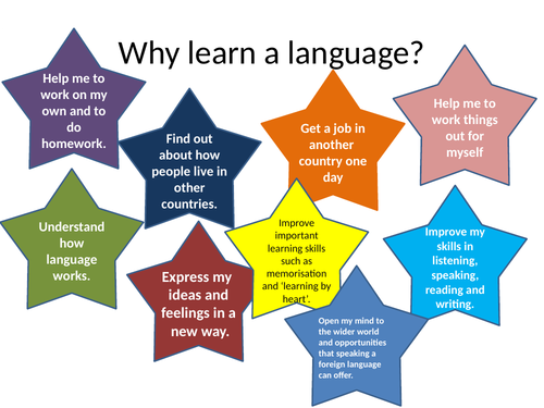 Poster listing 9 reason to learn a language
