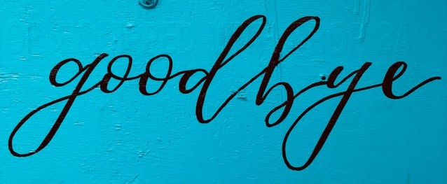 Goodbye wording on a blue background