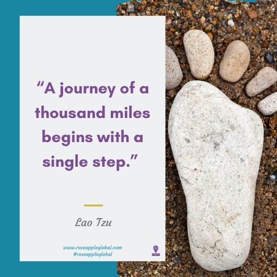 Travel Quote about the a journey begins with. one step.