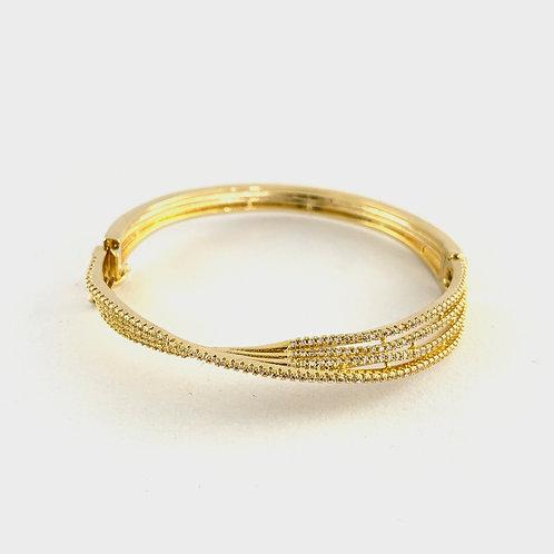 Pulseira Bracelete Dourado com Banho de Folheado e Zircônia Cúbica