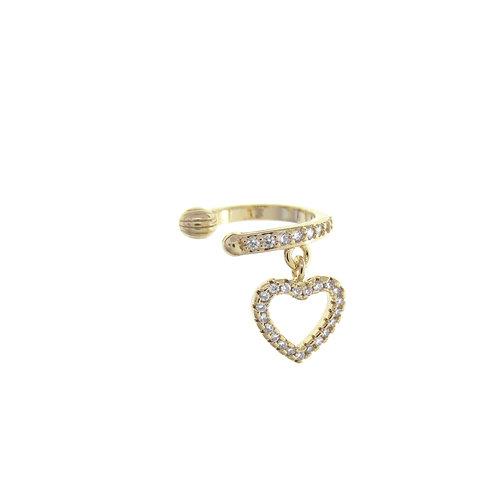 Brinco Piercing Fake Coração Dourado