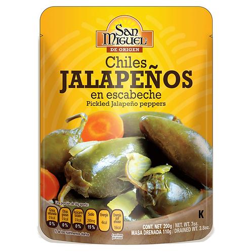 CHILES JALAPEÑOS ENTEROS EN ESCABECHE - 12 POUCH DE 200 G