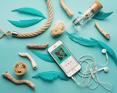 Teal colored items, phone, driftwood, etc. in Pennsylvania