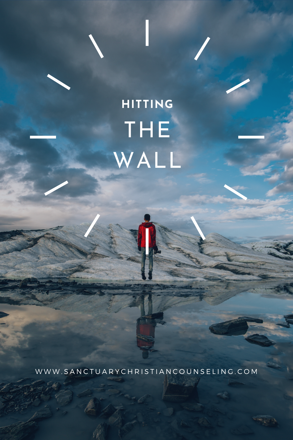 Hitting the wall logo -- many standing in polar region, Shippensburg PA Sanctuary Christian Counseling