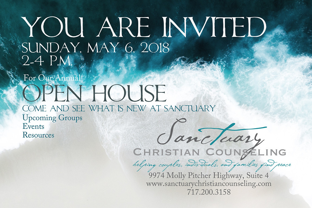 Sanctuary Christian Counseling in Shippensburg PA open house invitation