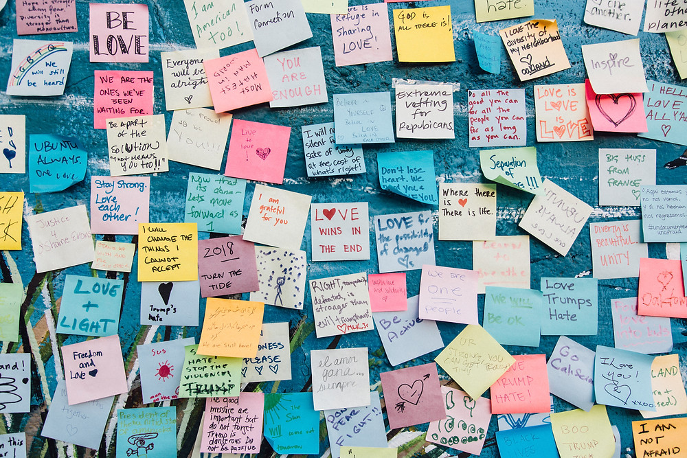 wall of post-it notes near Shippensburg PA and Sanctuary Christian Counseling