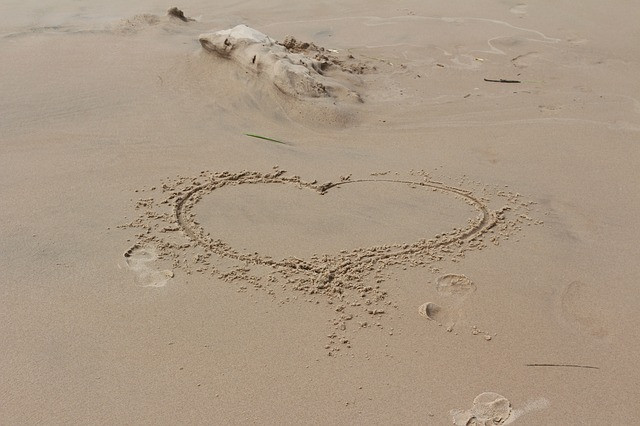 Heart written in sand near Sanctuary Christian Counseling in Shippensburg, PA