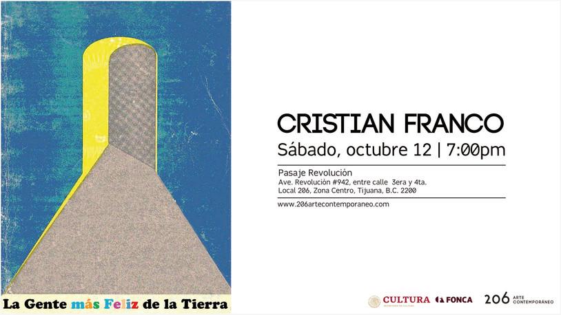 Sábado 12 de octubre | 7:00pm | Cristian Franco en 206 arte contemporáneo