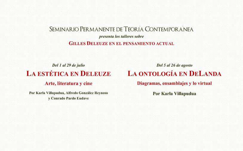 """Talleres - """"La estética en Deleuze"""" y """"La ontología en DeLanda"""" con Seminario Pe"""