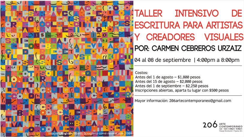 Taller Intensivo de Escritura para Artistas y Creadores Visuales en 206 Arte Contemporáneo