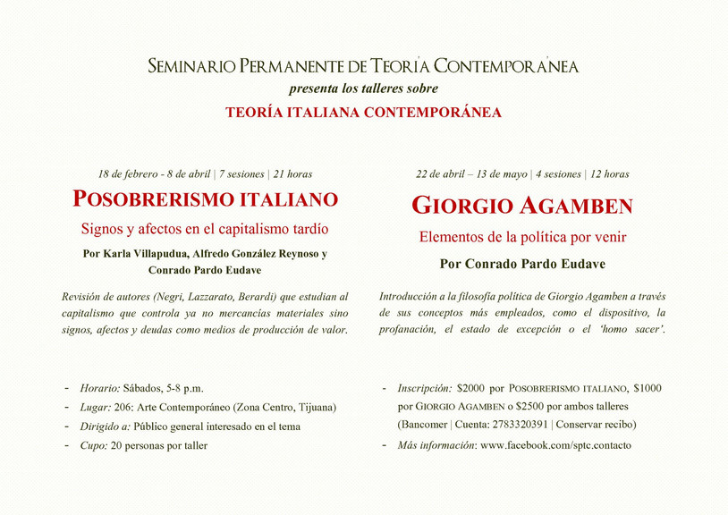 Nuevos talleres por Seminario Permanente de Teoría Contemporánea en 206 Arte Contemporáneo