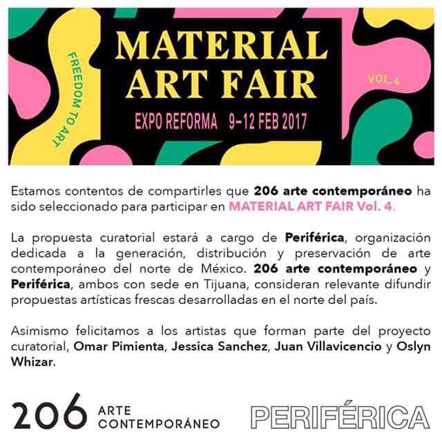 Nos vemos en Material Art Fair del 9 al 12 de febrero del 2017