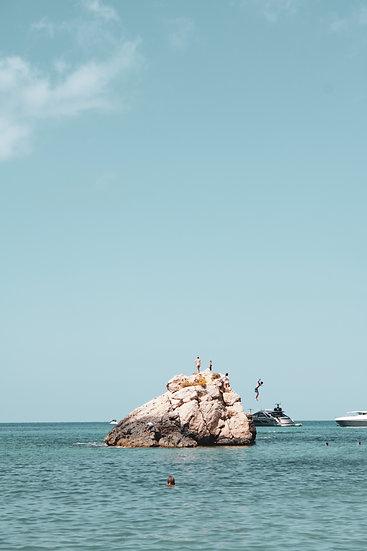 Cliff diving at Cala Xarraca