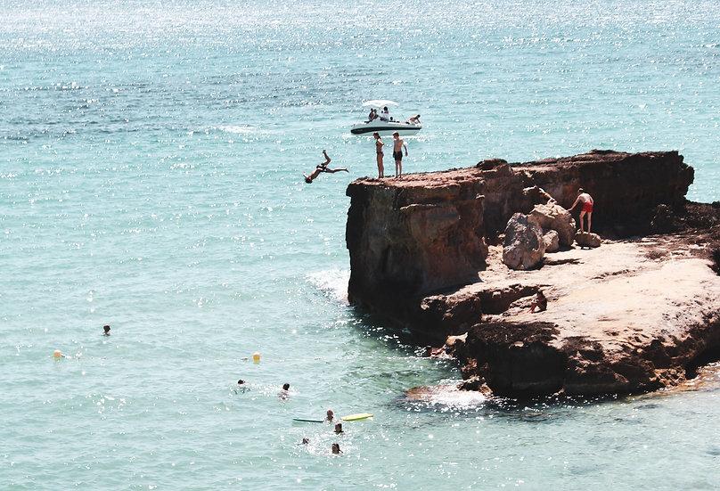Cala Tarida cliff diving, Ibiza