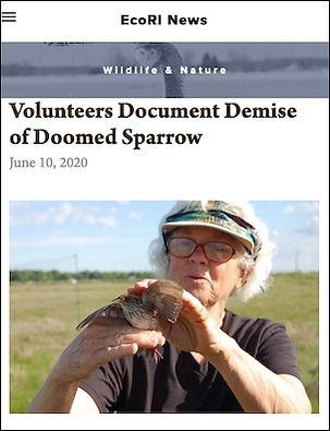 Deirdre Robinson holding Saltmarsh Sparrow