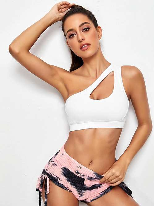 One Shoulder Cut-Out Sports Bra