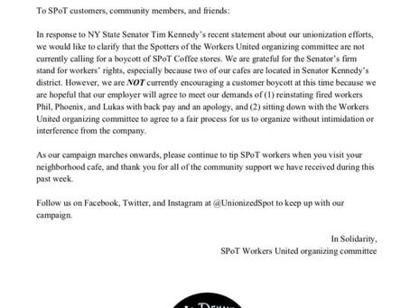 Statement Regarding Spot Coffee Organizing Edforts